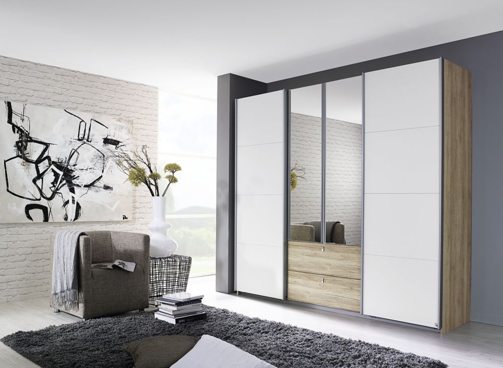Rauch Kombino Sanremo Oak Light with Alpine White 2 Hinged Door 1 Sliding Door 2 Drawer Combi Wardrobe - W 181cm