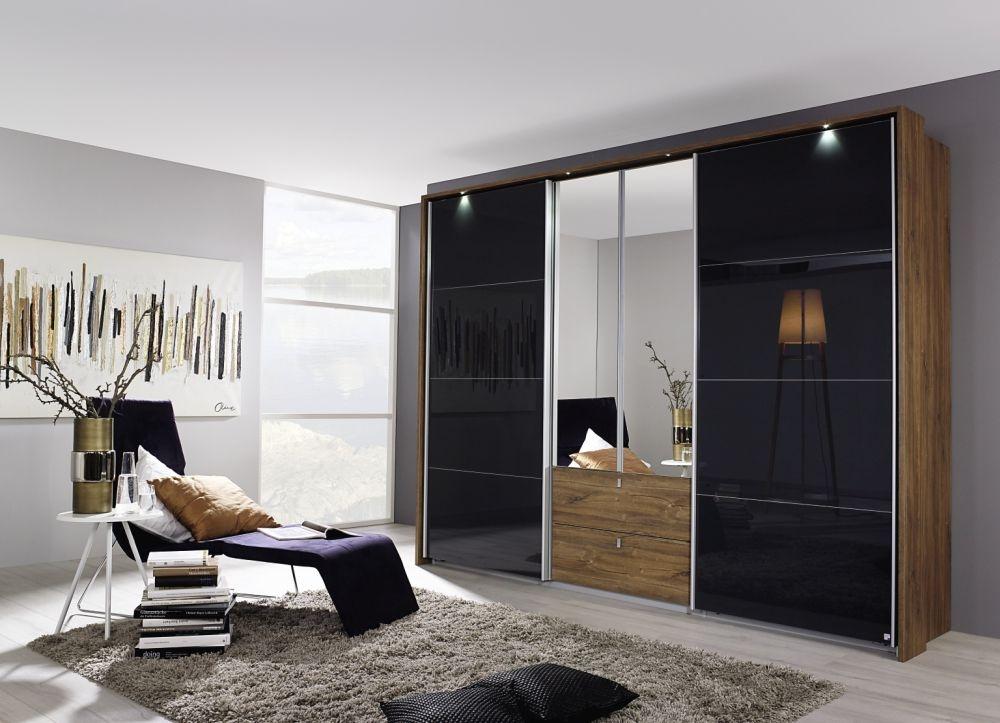 Rauch Kombino Stirling Oak with Black Glass 2 Mirror Hinged Door 2 Sliding Door 2 Drawer Combi Wardrobe - W 226cm