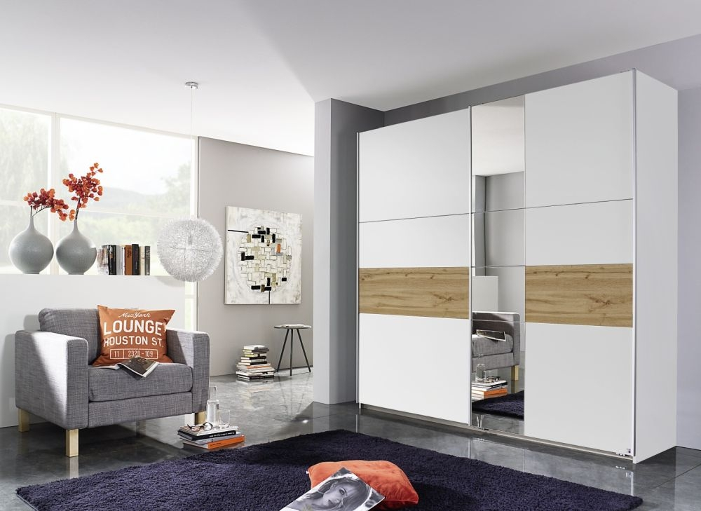Rauch Korbach 2 Door 1 Mirror Sliding Wardrobe in Alpine White and Wotan Oak with Aluminium Handle Strip - W 218cm