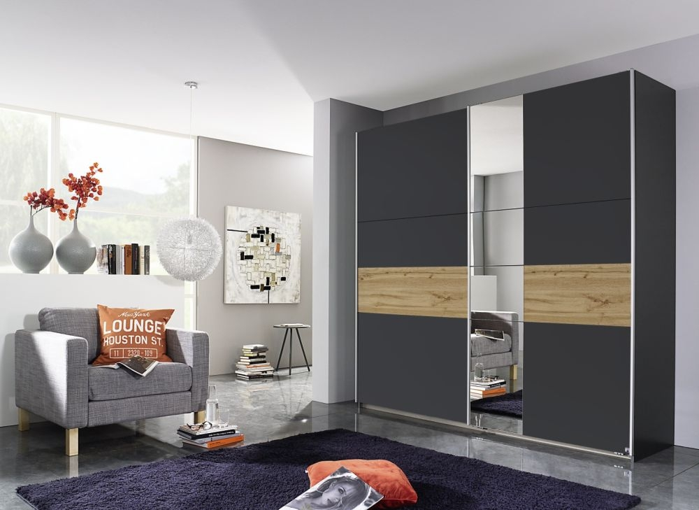 Rauch Korbach Metallic Grey with Wotan Oak 2 Door 1 Mirror Sliding Wardrobe with Aluminium Handle Strip - W 218cm