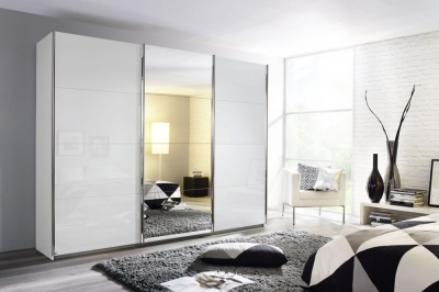 Rauch Kulmbach 3 Door Sliding Wardrobe in Alpine White and High Polish White with Chrome Handle Strips - W 203cm