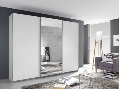 Rauch Kulmbach 3 Door Sliding Wardrobe in Alpine White with Aluminium Handle Strips - W 203cm