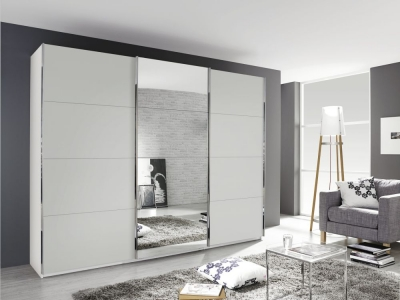Rauch Kulmbach 3 Door Sliding Wardrobe in Alpine White with Chrome Handle Strips - W 203cm