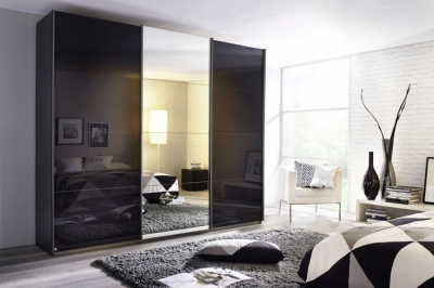 Rauch Kulmbach 3 Door Sliding Wardrobe in Grey Metallic and Glass Basalt with Carcase Handle Strips - W 203cm