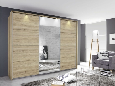 Rauch Kulmbach 3 Door Sliding Wardrobe in Sanremo Oak Light with Aluminium Handle Strips - W 203cm