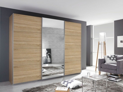 Rauch Kulmbach 3 Door Sliding Wardrobe in Sonoma Oak with Aluminium Handle Strips - W 203cm