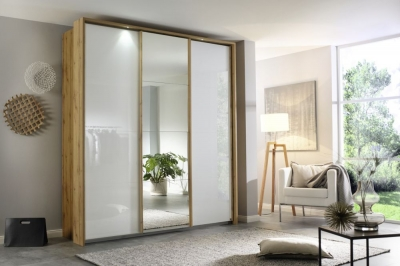 Rauch Kulmbach 3 Door Sliding Wardrobe in Wotan Oak and High Polish White with Carcase Handle Strips - W 203cm
