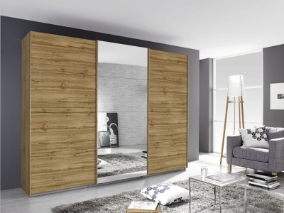 Rauch Kulmbach 3 Door Sliding Wardrobe in Wotan Oak with Carcase Handle Strips - W 203cm