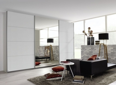 Rauch Kulmbach 3 Door 1 Mirror Sliding Wardrobe in Alpine White with Aluminium Handle Strips - W 271cm