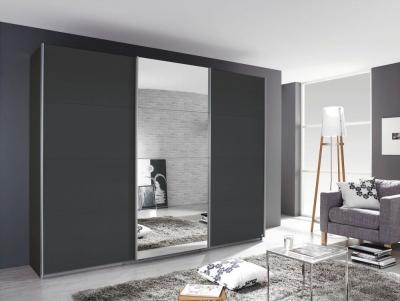 Rauch Kulmbach 3 Door 1 Mirror Sliding Wardrobe in Grey Metallic with Aluminium Handle Strips - W 271cm