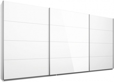 Rauch Kulmbach 3 Door Sliding Wardrobe in Alpine White and Glass White with Aluminium Handle Strips - W 271cm
