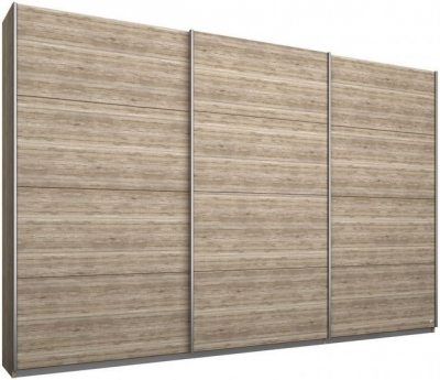 Rauch Kulmbach 3 Door Sliding Wardrobe in Sanremo Oak Light with Aluminium Handle Strips - W 271cm