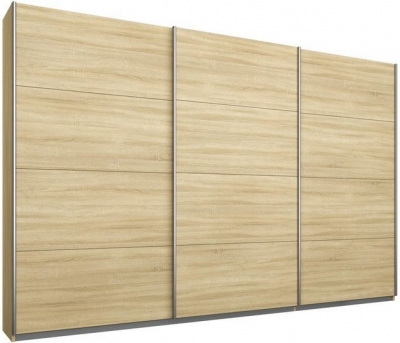 Rauch Kulmbach 3 Door Sliding Wardrobe in Sonoma Oak with Aluminium Handle Strips - W 271cm