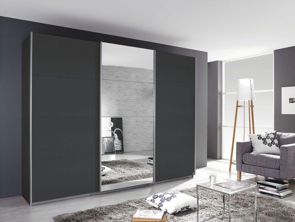 Rauch Kulmbach 3 Door Sliding Wardrobe in Grey Metallic with Aluminium Handle Strips - W 203cm