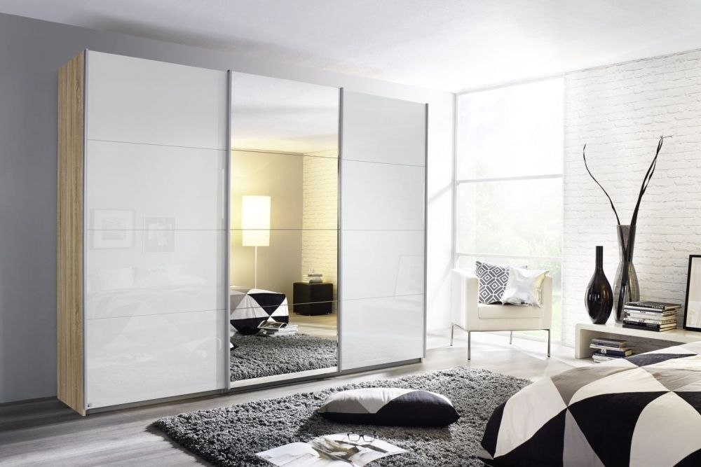 Rauch Kulmbach 3 Door Sliding Wardrobe in Sonoma Oak and High Polish White with Aluminium Handle Strips - W 203cm