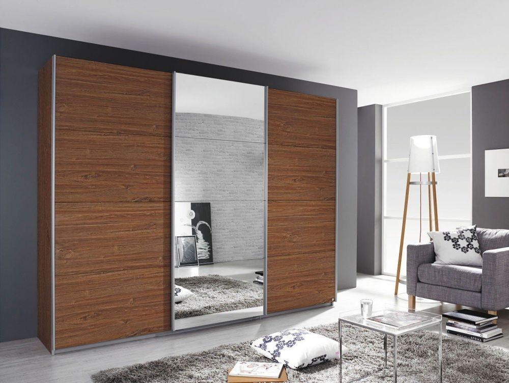 Rauch Kulmbach 3 Door Sliding Wardrobe in Stirling Oak with Aluminium Handle Strips - W 203cm