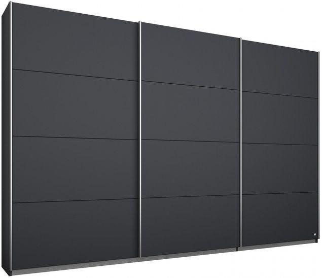 Rauch Kulmbach 3 Door Sliding Wardrobe in Grey Metallic with Aluminium Handle Strips - W 271cm