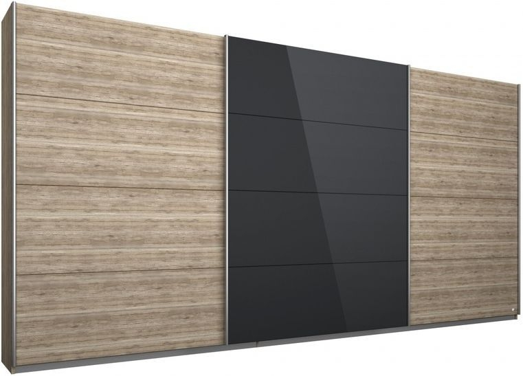 Rauch Kulmbach 3 Door Sliding Wardrobe in Sonoma Oak and Glass Black with Aluminium Handle Strips - W 271cm