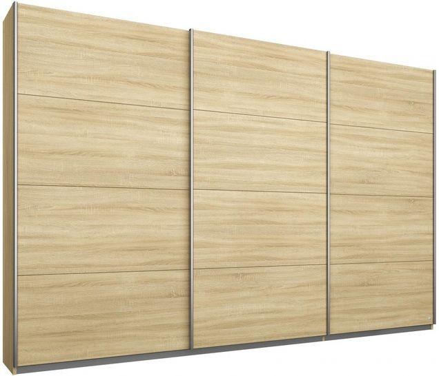 Rauch Kulmbach 3 Door Sliding Wardrobe in Sonoma Oak with Aluminium Handle Strips - W 271cm