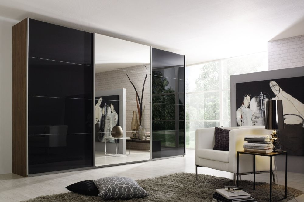 Rauch Kulmbach 3 Door Sliding Wardrobe in Stirling Oak and Glass Basalt with Aluminium Handle Strips - W 271cm