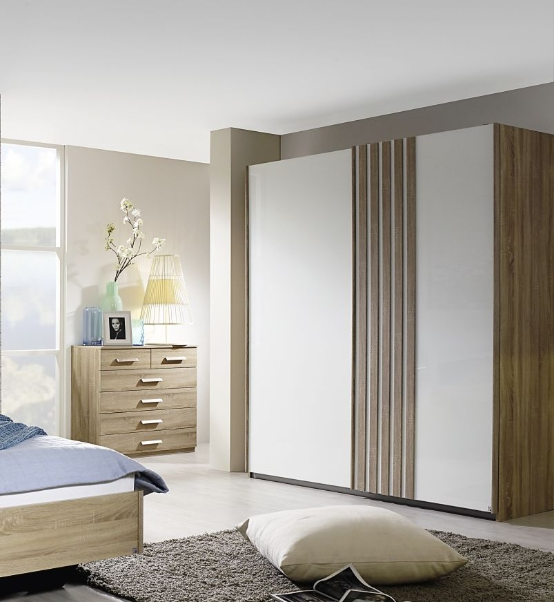Rauch Leno Color 2 Door Sliding Wardrobe in Oak and White Glass - W 181cm