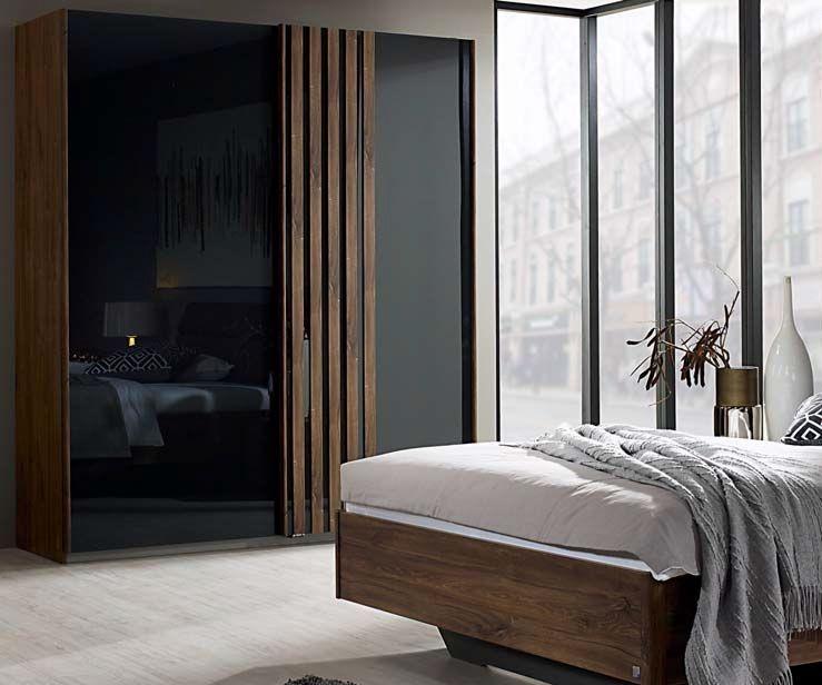 Rauch Leno Color 2 Door Sliding Wardrobe in Stirling Oak and Basalt Glass - W 181cm