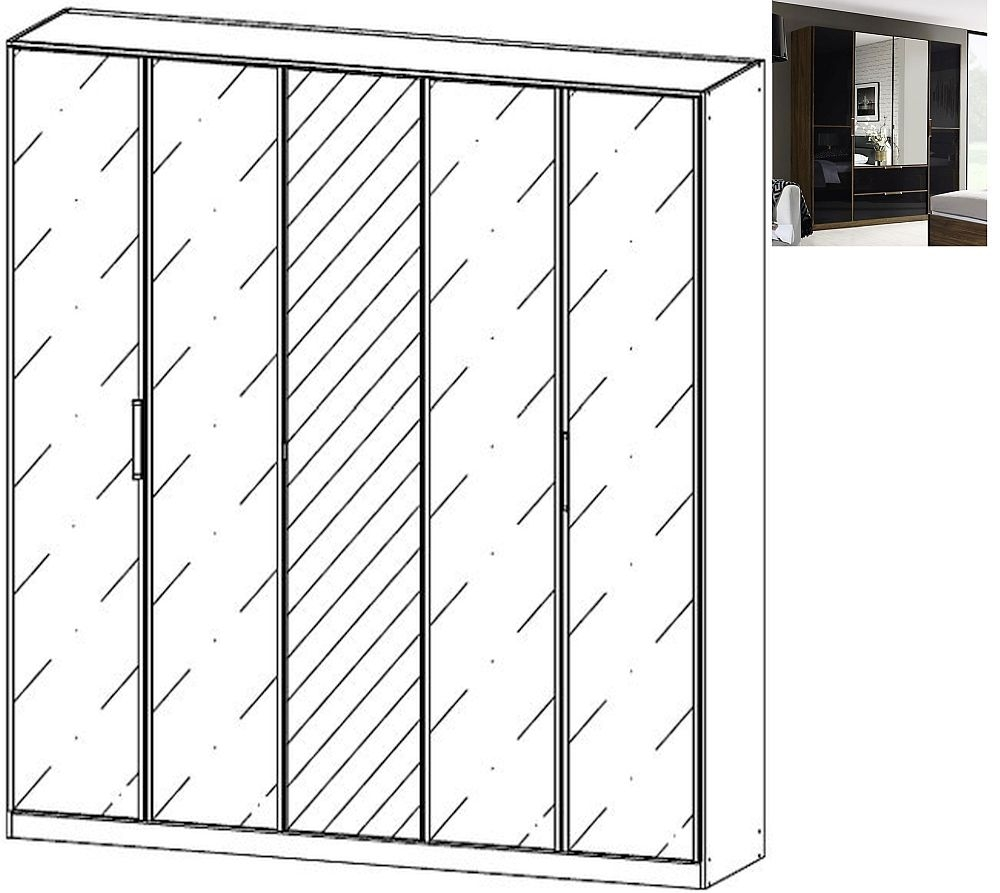 Rauch Leno Color 5 Door 1 Mirror Wardrobe in Stirling Oak and Basalt Glass - W 226cm