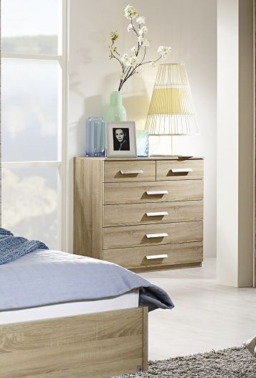 Rauch Leno Color 1 Door 5 Drawer Chest in Sonoma Oak