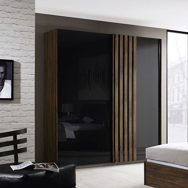 Rauch Leno Color 3 Door Sliding Wardrobe in Stirling Oak with Basalt Glass Overlay - W 271cm