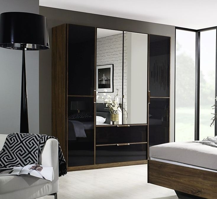 Rauch Leno Color 4 Door 2 Mirror Wardrobe in Stirling Oak and Basalt Glass Overlay - W 181cm