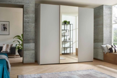 Rauch Lias 3 Door 1 Mirror Sliding Wardrobe in Silk Grey and Artisan Oak - W 226cm