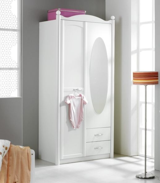 Rauch Lilly 2 Door 2 Drawer 1 Mirror Combi Wardrobe in Alpine White - W 101cm