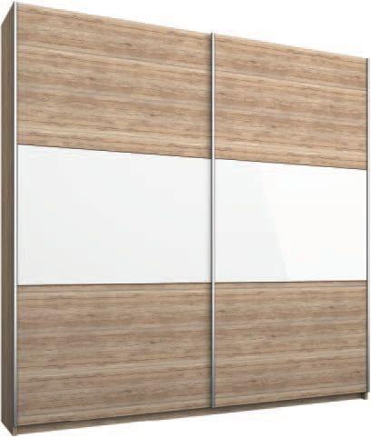 Rauch Loriga Sanremo Oak Light with White Glass Overlay 2 Door Sliding Wardrobe - W175cm