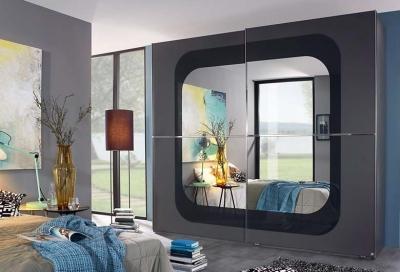 Rauch Lumos 2 Door Mirror Sliding Wardrobe in Dark Grey and Basalt - W 251cm