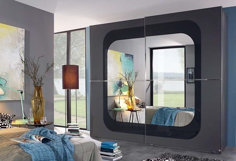 Rauch Lumos 2 Door Mirror Sliding Wardrobe in Dark Grey and Basalt - W 251cm
