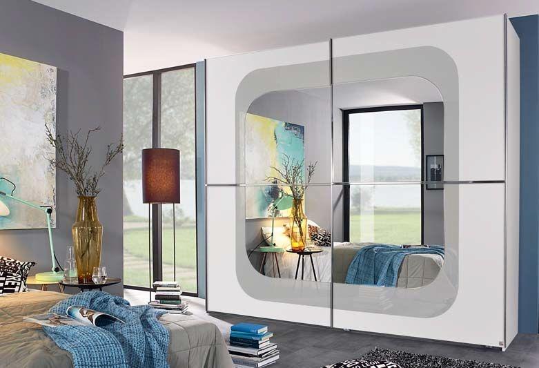 Rauch Lumos 2 Door Mirror Sliding Wardrobe in White and Silk Grey - W 251cm