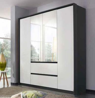 Rauch Mainz 4 Door 2 Mirror 2 Drawer Combi Wardrobe in Metallic Grey and Alpine White - W 181cm