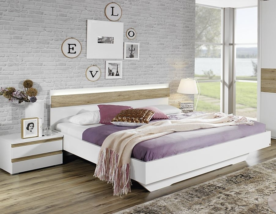 Rauch Mara 6ft Super King Size Bed with Lighting in Oak and Alpine White - 180cm x 190cm