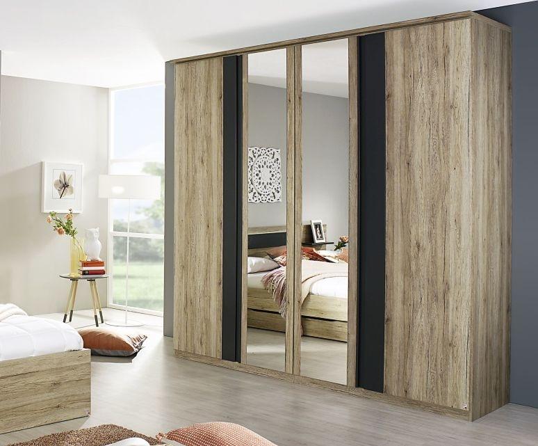 Rauch Mara Sanremo Oak Light with Graphit 5 Door Wardrobe with 3 Mirror - W 275cm H 223cm