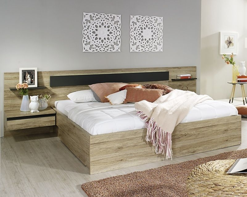 Rauch Mara Sanremo Oak Light with Graphit 6ft Queen Size Bed - 180cm x 190cm