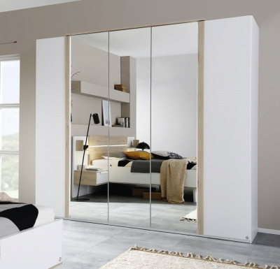 Rauch Marcella 5 Door Wardrobe with Lighting in Alpine White and Faux Leather White - W 251cm