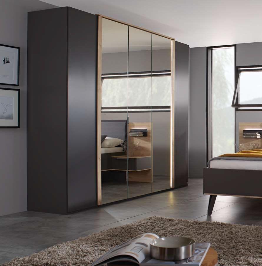 Rauch Marcella 5 Door Wardrobe with Lighting in Graphite and Faux Leather Basalt - W 251cm