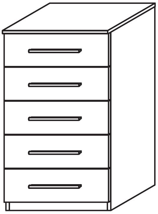 Rauch Marl 5 Drawer High Polish Front Chest with Aluminium Handle