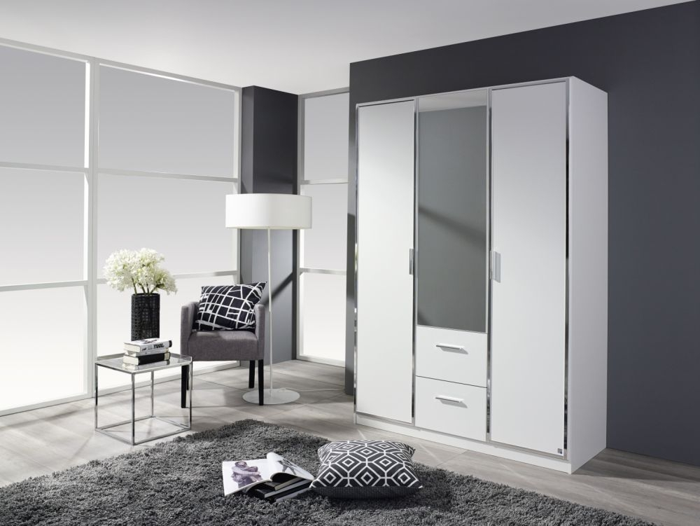 Rauch Marl Alpine White 3 Door 2 Drawer 1 Mirror Combi Wardrobe with Chrome Handle Trims - W 136cm