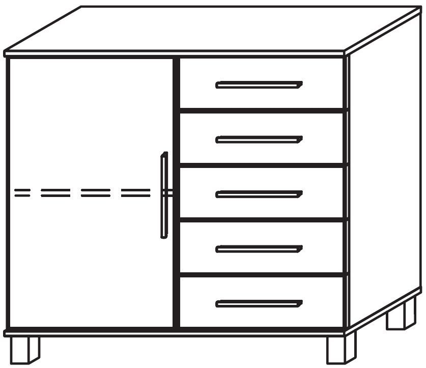 Rauch Marl High Feet 1 Door 5 Drawer Glass Overlay Front Combi Chest with Chrome Handle