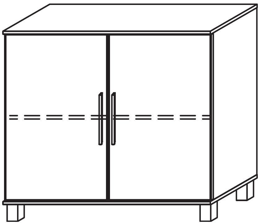 Rauch Marl High Feet 2 Door Decor Front Cupboard with Aluminium Handle