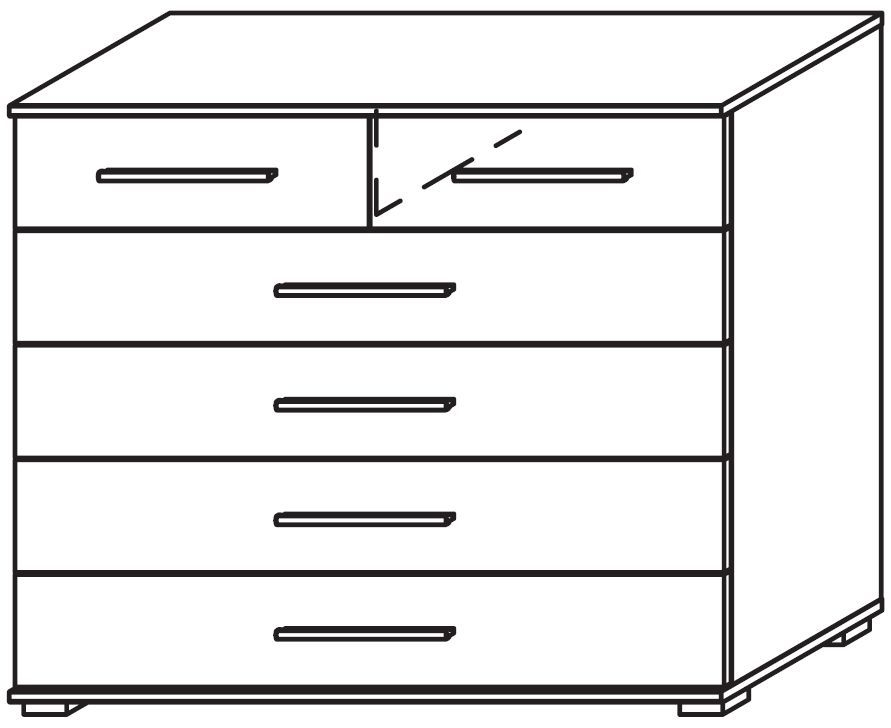 Rauch Marl Low Feet 2+4 Drawer Decor Front Chest with Aluminium Handle