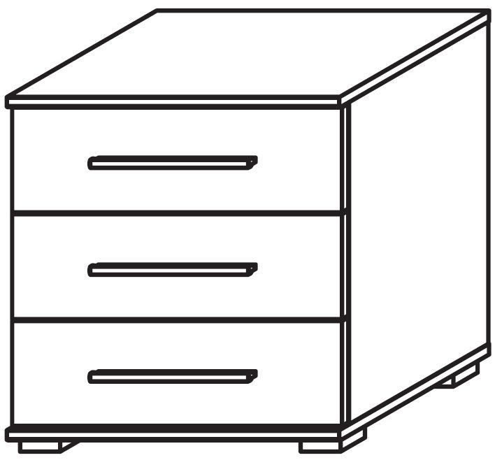 Rauch Marl Low Feet 3 Drawer Glass Overlay Front Bedside Cabinet with Aluminium Handle