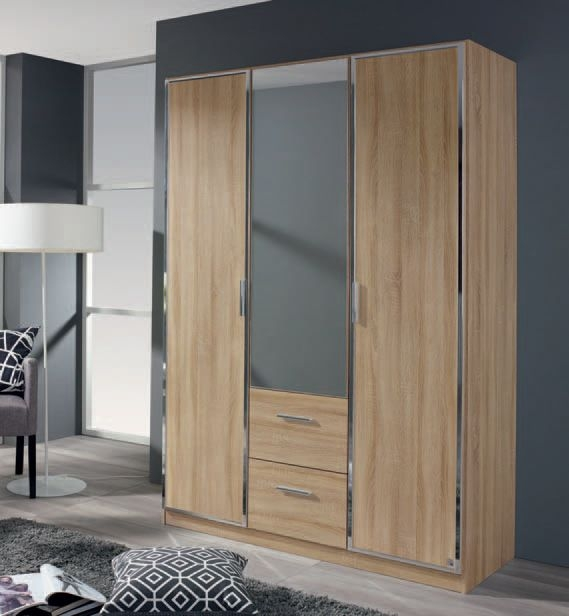 Rauch Marl 4 Door 2 Drawer 2 Mirror Combi Wardrobe in Oak and Chrome Handle Trims - W 181cm