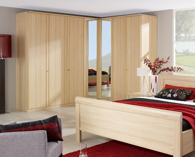 Product photograph showing Rauch Master Range Front 2 Corner Wardrobe With Lock And Trim - Deep 64cm